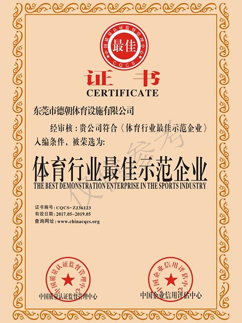 德朝-体育行业最佳示范企业证书
